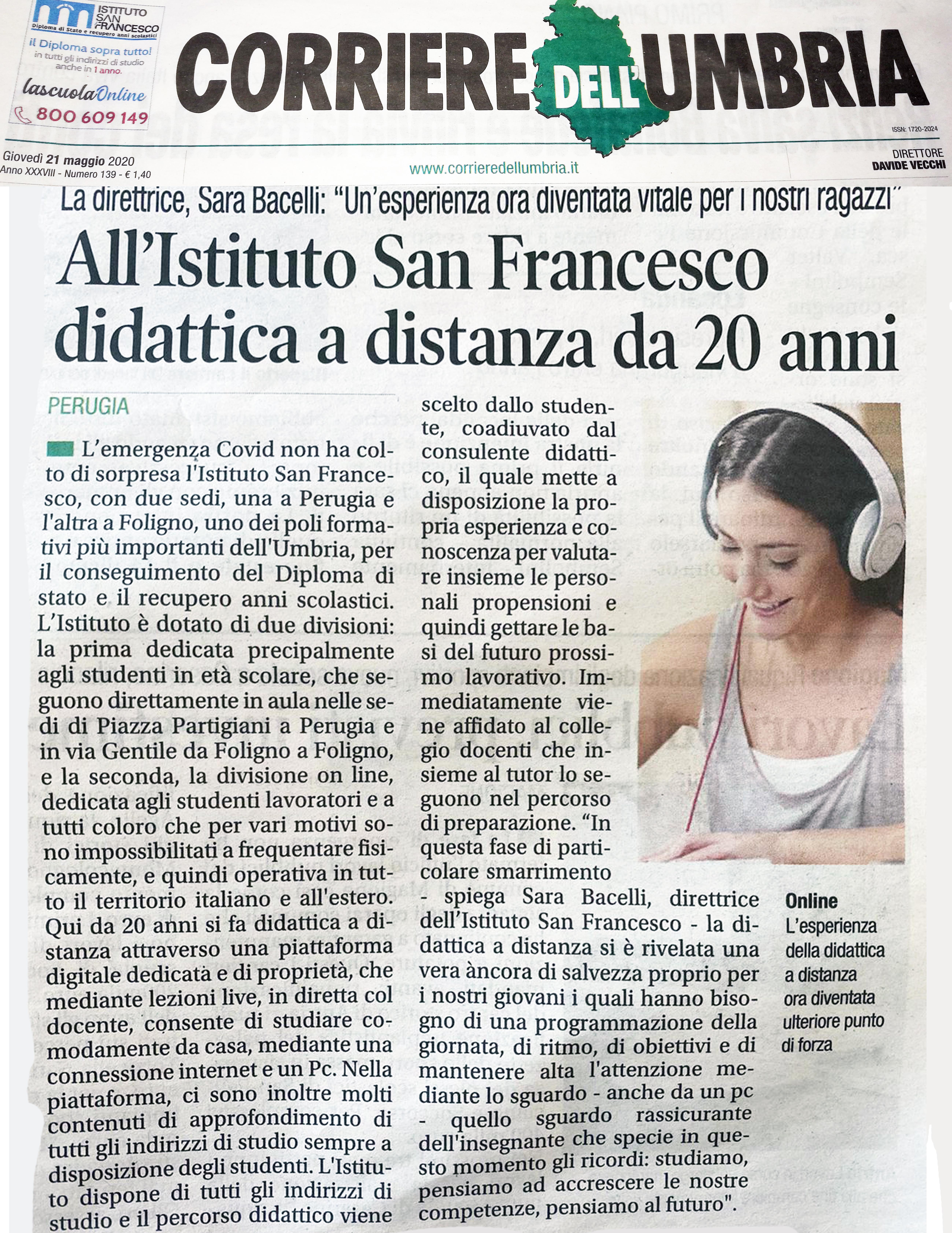 Il Corriere dell?umbria intervista la direttrice Sara Bacelli